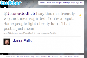 Jason Falls Jessica Gottlieb Twitter Fat Mean Bigot