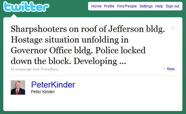 Peter Kinder Tweet Hostage