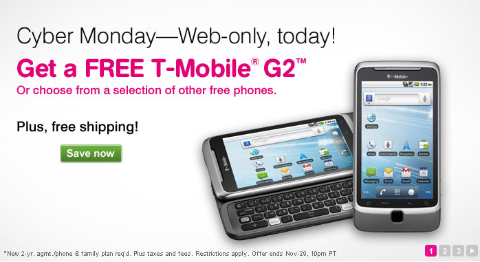 T Mobile Cyber Monday Free G2 Phone